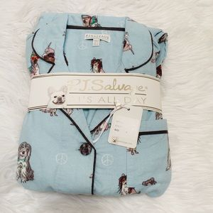 NWT P.J. Salvage Dog Flannel Pajamas Blue Small